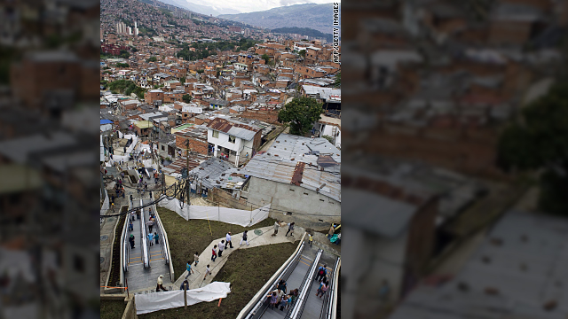 Giant escalators help poor in Medellin, Colombia