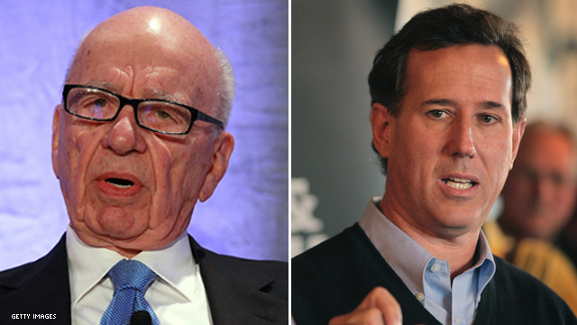 Murdoch tweets support for Santorum