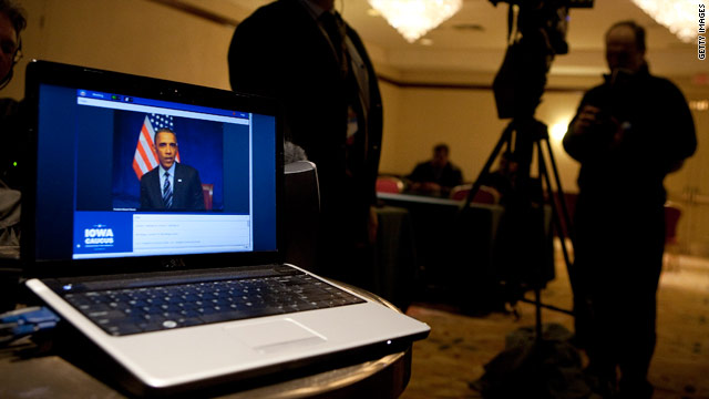 Obama talks to Iowa supporters on caucus night