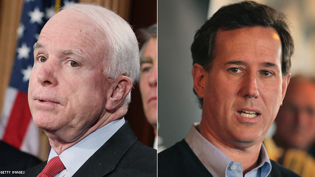 McCain takes aim at Santorum in South Carolina