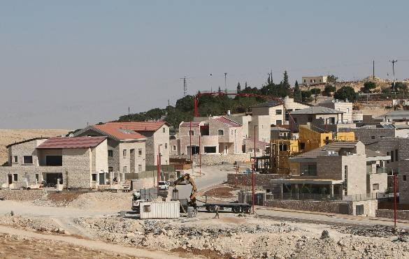 New houses are seen in West Bank Israeli settlement of Qedar, on the outskirts of Jerusalem (Getty)