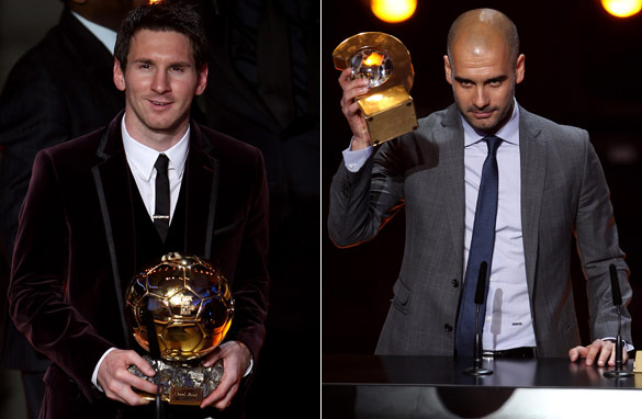 Lionel Messi (left) was crowned the world's best player on Monday, while Guardiola was named football's top coach.