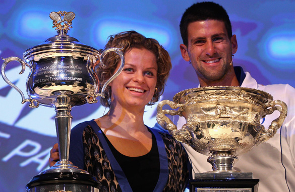 Kim Clijsters, left, and Novak Djokovic took home the winners' trophies in Melbourne last year.