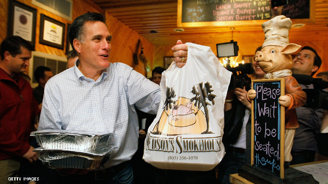 Romney stops at smokehouse for barbecue fix