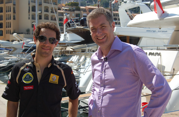 CNN's Don Riddell interviewed F1 driver Bruno Senna, left, in Monaco last year