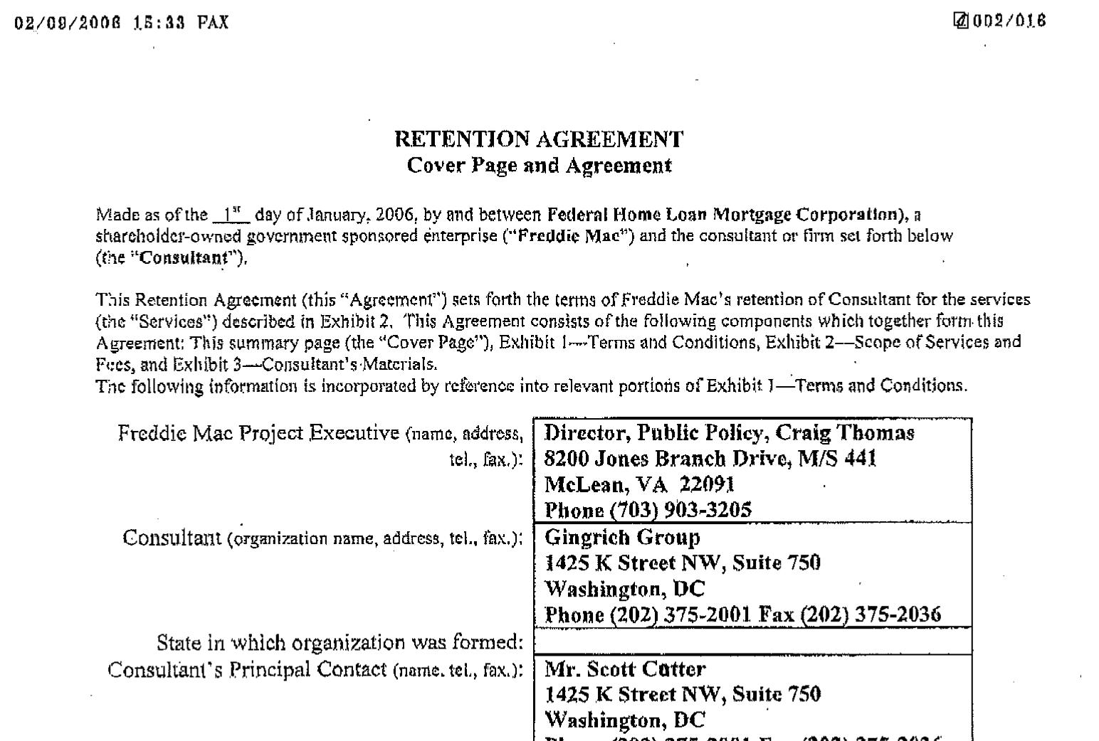 BREAKING: Newt Gingrich releases Freddie Mac contract