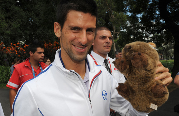 Novak Djokovic poses with a stuffed wombat the day after winning his third Australian Open title.
