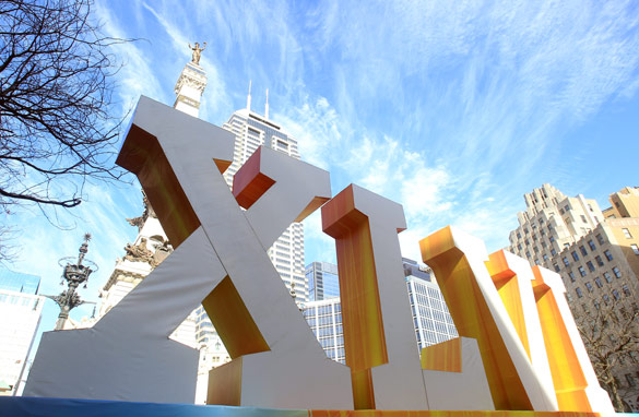 The giant Super Bowl Experience has taken over downtown Indianapolis ahead of Sunday's game. (Getty Images)