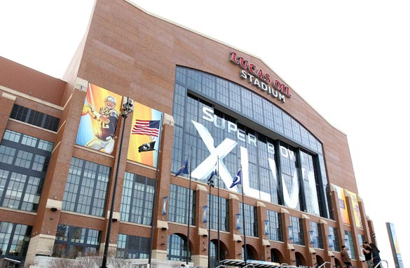 The Lucas Oil Stadium in Indianapolis will host the match-up between the Giants and the Patriots.