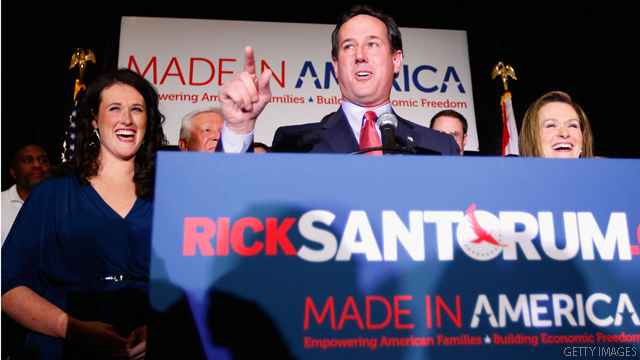 Santorum claims momentum after 3-state sweep