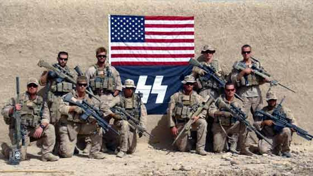 Photo shows Marines posing with Nazi-like symbol in Afghanistan