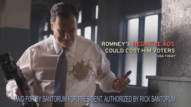 Mud gun aids Santorum bid in new ad
