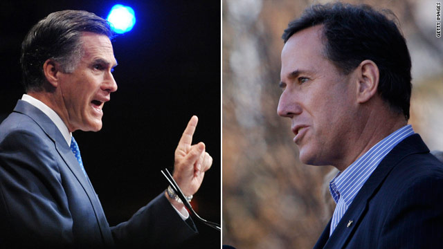 Santorum hopes to etch image of Romney in voters&#039; minds