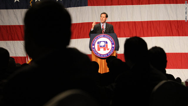 Santorum touts auto manufacturing roots in Detroit