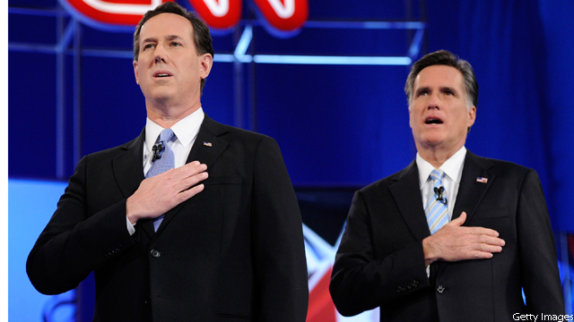 Romney: 'I wonder which team Santorum was taking it for'