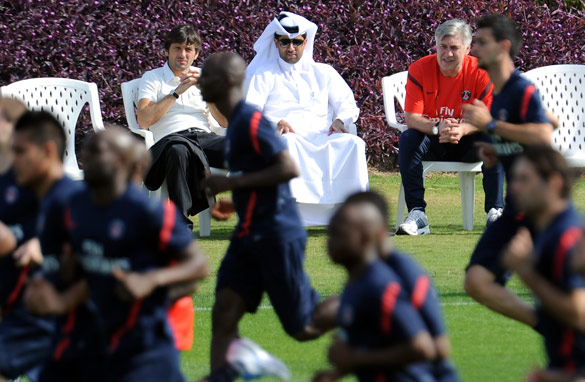 PSG's new regime: (L-R) Sporting director Leonardo, president Nasser Al-Khelaifi and coach Carlo Ancelotti. (Getty Images)