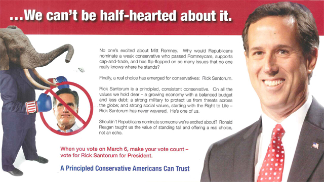 &#039;No one&#039;s excited about Mitt Romney,&#039; pro-Santorum mailer declares