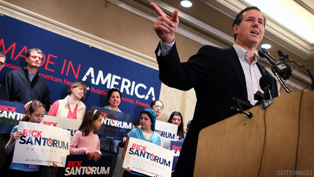 Santorum questions Romney's 'gut'