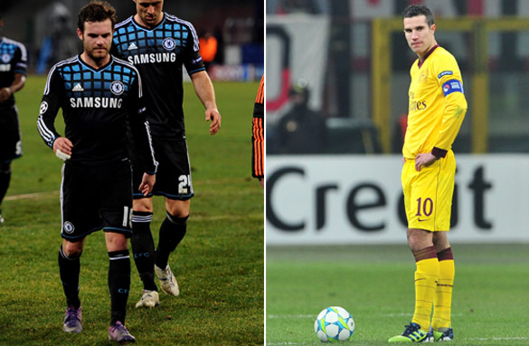 Down and out? Both Chelsea and Arsenal suffered heavy defeats in their first leg matches in Italy (Getty Images).