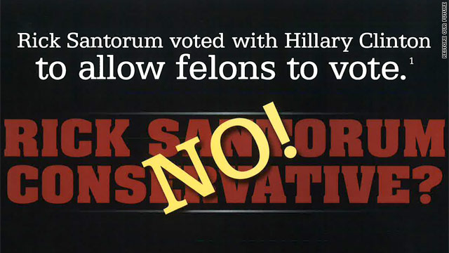 Screenshot of negative ad against Santorum