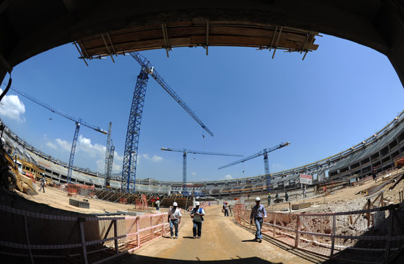 The iconic Maracana stadium in Rio de Janeiro is being redeveloped and will host the 2014 World Cup final.
