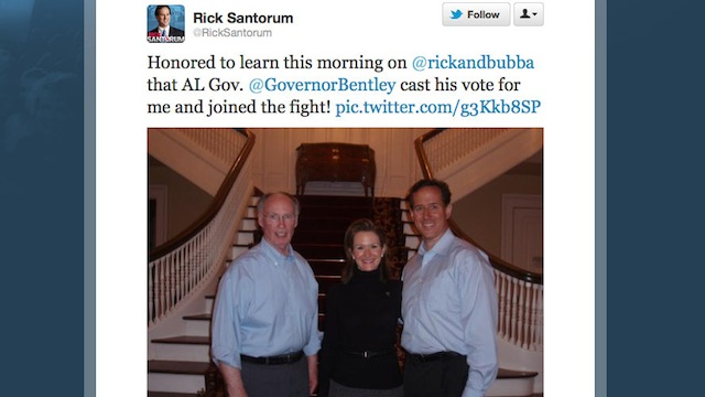 Alabama governor votes for Santorum