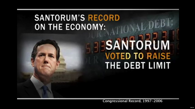 Romney super PAC attacks Santorum over the economy