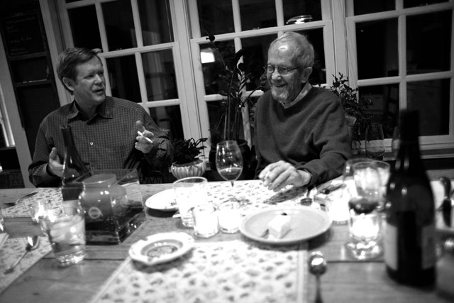 Since his third marriage ended, Elmore Leonard is a regular dinner guest at Peter's.