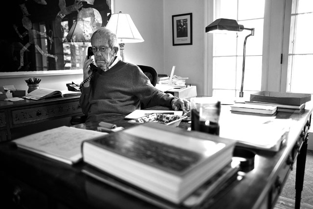 Elmore Leonard works out of his home office, writing stories by hand. He doesn't use a computer.