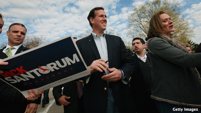 Spring forward: Santorum looks to May, not April