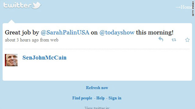 Tweet of the day: McCain congratulates Palin