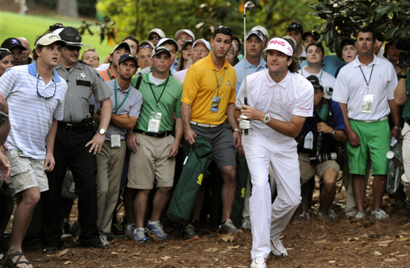 The eyes of the world are now on new Masters champion Bubba Watson, who here hits his incredible playoff shot.
