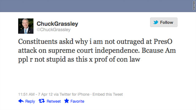 Grassley calls Obama &#039;stupid&#039; on Twitter