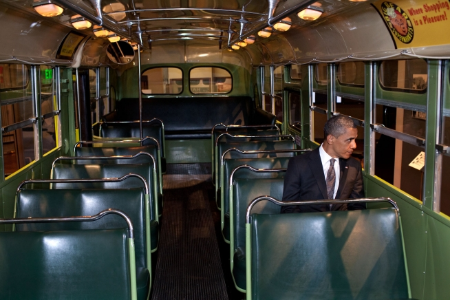 POTUS sits on bus made famous by Rosa Parks