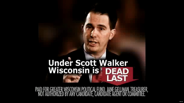 Walker hit by first ad in recall election