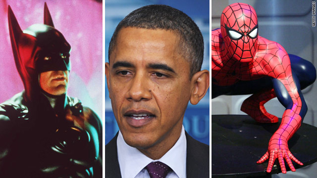 Obama shoots hoops with superheroes
