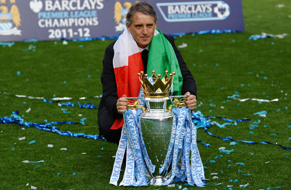Roberto Mancini celebrates Manchester City's title triumph, but should it have been more emphatic? (Getty Images)