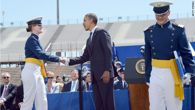 Obama defends global leadership at Air Force Academy