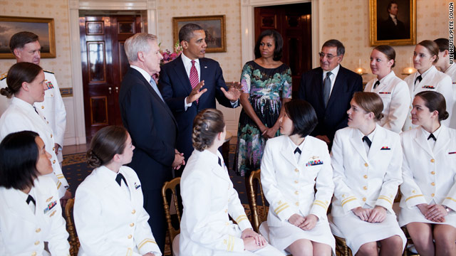 Women submariners at the White House