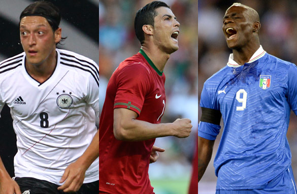 Germany&#039;s Mesut Ozil, Cristiano Ronaldo of Portugal and Mario Balotelli of Italy will all be at Euro 2012. (Getty Images)