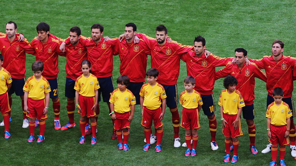 Spanish players don't have to worry about learning the words to their national anthem. (Getty Images)