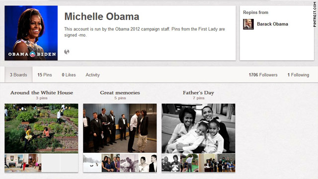 First lady hops on Pinterest