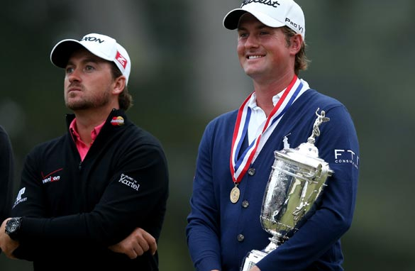 Webb Simpson, right, prevented Graeme McDowell, left, from repeating his 2010 U.S. Open triumph. (Getty Images)
