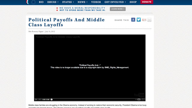 Romney web video taken off YouTube