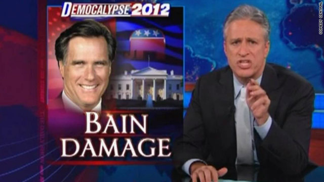 Jon Stewart rips Romney on Bain, taxes
