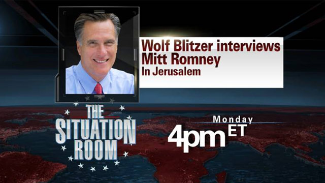 Wolf Blitzer to interview Mitt Romney in Jerusalem