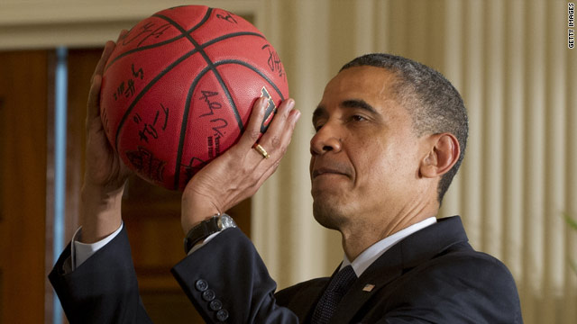 Olympics day one, Obama shoots hoops