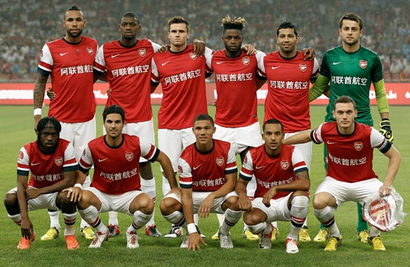 Arsenal&#039;s shirts were adorned with their names and sponsor in Mandarin during a recent tour of China. (Getty)