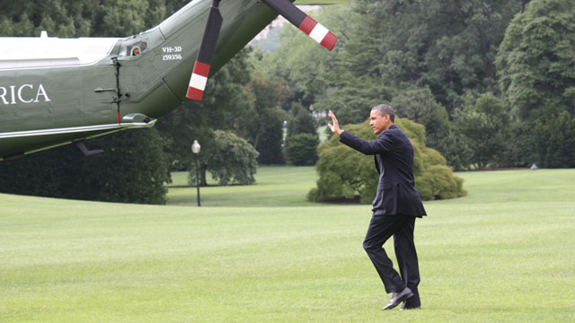 Obama on the road again to guess where?  Florida and Virginia swing states