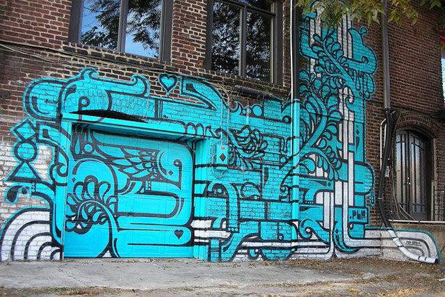 An aerosol mural by Ferrari in the Castleberry Hill neighborhood of Atlanta, Georgia.
